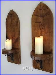 Wood Wall Sconce 2x Large 70cm Gothic Arch Rustic Reclaimed Solid Wood Wall Sconce