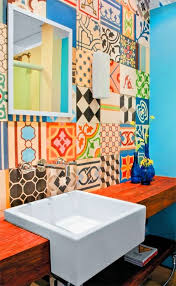 Bathroom Tile Feature Ideas Colors To Da Loos Mix Matched Patchwork Pattern Tile Bathrooms