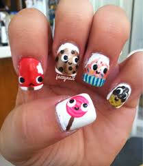funny nail art design ideas with cute 5 desserts cartoon character