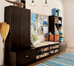 inspiring study room decor with brown bookshelves for inexpensive
