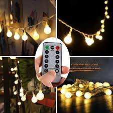 led fairy lights with timer remote timer 16 feet 50 led outdoor globe string lights 8 modes