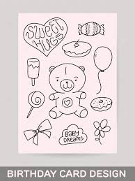 kids hand drawn greeting card design with doodle teddy bear sweet