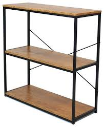 etagere bookcase tall metal 3 tier bookcase with wood shelves