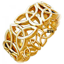 gold tone knot design celtic stainless steel mens wedding ring