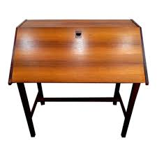 Mid Century Secretary Desk by Denmark U2013 Teak Slant Front Desk W 3 Drawers Inside U2013 Mid Century