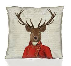 deer with red and gold jacket decorative cushion by fabfunky home
