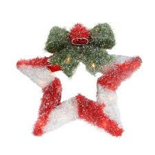 16 lighted tinsel red u0026 white star wreath with bow christmas