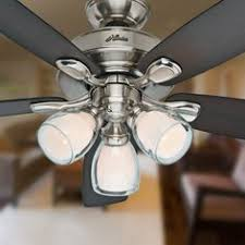 House Ceiling Fans by Hunter Meridale 52 In Brushed Nickel Downrod Or Close Mount Indoor