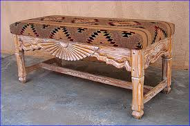 Wooden Bench With Cushion Southwest Benches Custom Southwestern Benches