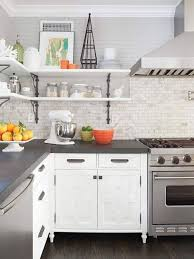 grey kitchen backsplash best idea of grey kitchen countertops with brick backsplash 8905