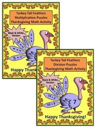 math activities turkey feathers math puzzles bundle packet