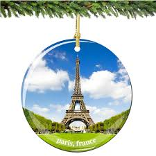 ornament with eiffel tower and notre dame