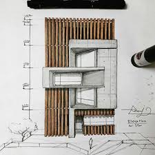 sketching ideas for the architectural facades design engineering