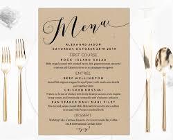 wedding menu template rustic black calligraphy wedding menu template