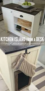 Make A Kitchen Island Remodelaholic Upcycled Vintage Desk Into Kitchen Island With Storage
