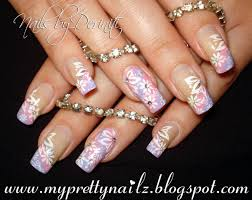 Easter Nail Designs Angled Ombre Floral French Tips Pretty Spring Easter Summer Nail