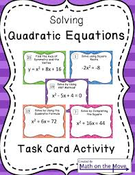 quadratic equations task card activity