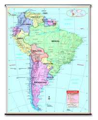 Latin And South America Map by Spring Roller Wall Maps For Your Classroom