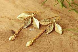 trendy gold earrings trendy golden leaf handmade earrings online in india azilaa