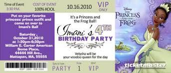 princess tiana concert ticket birthday invitations