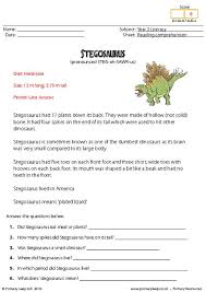 this worksheet includes interesting facts about the stegosaurus