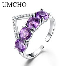gemstone rings images Umcho 925 sterling silver natural amethyst ring crown various jpg