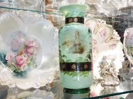 Victorian Glass Vase 1800s Antique Bristol Glass Vase 1800s Victorian Green Opaline