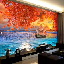 lucky boat leaft autumn sea photo wall mural wallpapers for living lucky boat leaft autumn sea photo wall mural wallpapers for living room bedroom wall paper home wall decor 3d murals wallpapers in wallpapers from home