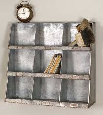 Cubby Storage Bins Country Farm House Vintage Style Galvanized Metal 9 Hole Wall