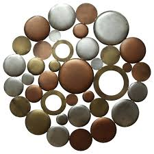 Bronze Metal Wall Decor Home Decor Multi Metallic Circle Burst