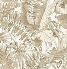 alfresco taupe palm leaf wallpaper tropical wallpaper by