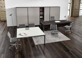 Female Executive Office Furniture Executive Desk Wood Veneer Aluminum Glass Zefiro By Mirto