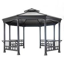 Discount Gazebos by Shop Sunjoy Black Steel Octagon Permanent Gazebo Exterior 14 08
