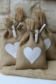 burlap gift bags set of four white heart idealpin