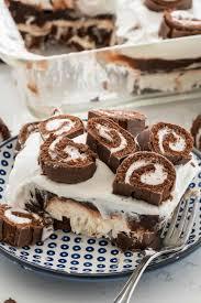swiss roll layered no bake dessert crazy for crust