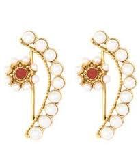 designer earrings adoreva white gold plated pearl fashion designer