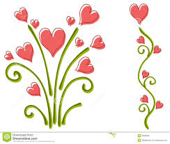 flowers for s day pink s day heart flowers stock illustration