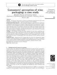 consumers u0027 perception of wine packaging a case study pdf