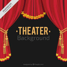 flat theater background with red curtains vector free download