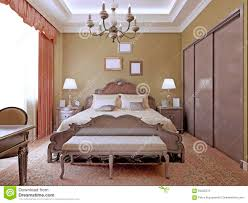 art deco bedroom with ceiling neon lights stock photo image