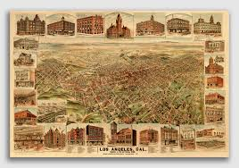 Usps First Class Shipping Time Map Los Angeles California 1891 Historic Panoramic Town Map 24x36 Ebay