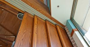 Overhead Sliding Door Track Custom Side By Side Overhead Tracks Support The Sliding Wood