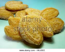 palmier biscuits or french pastry made of puff pastry and cinnamon