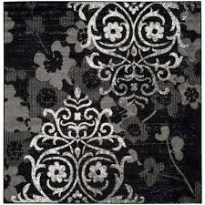 Black And Silver Rug Square Black Area Rugs Rugs The Home Depot