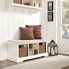 modern entryway storage bench white with 2 pillows bench