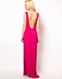 aqua hutch maxi dress with low scoop back and thigh split at asos