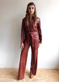 1970s jumpsuit vintage 70s maroon leather jumpsuit 1970s coveralls