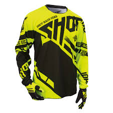shot motocross gear tricou shot raceway neon yellow