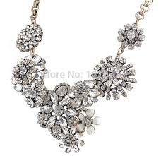 crystal necklace statement images Luxury big brand design clear crystal flower chunky statement jpg