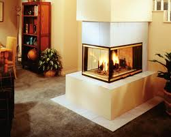 minimalist 3 sided fireplace set in modern style with flax wall